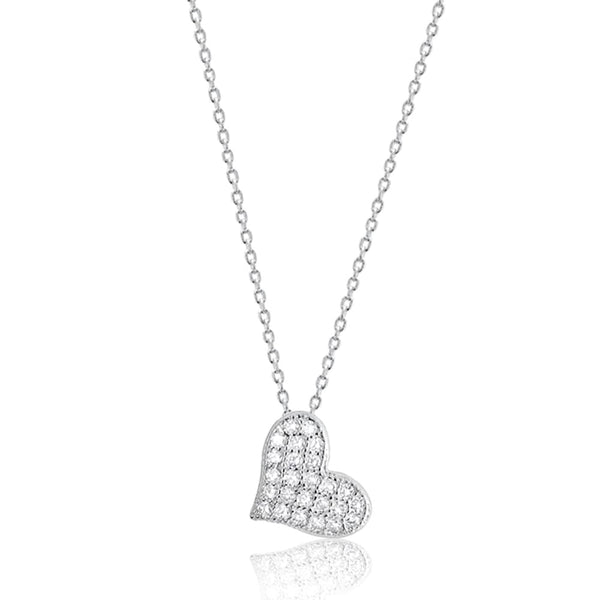 "Cubic Zirconia 925 Sterling Silver Beautiful Cute Heart Pendant Necklace 16""+ 2"" - Jewelry - Prjewel.com - 1"