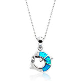 "925 Sterling Silver Synthetic Opal Dolphin Necklace 16""+ 2"" Extender - Jewelry - Prjewel.com - 1"