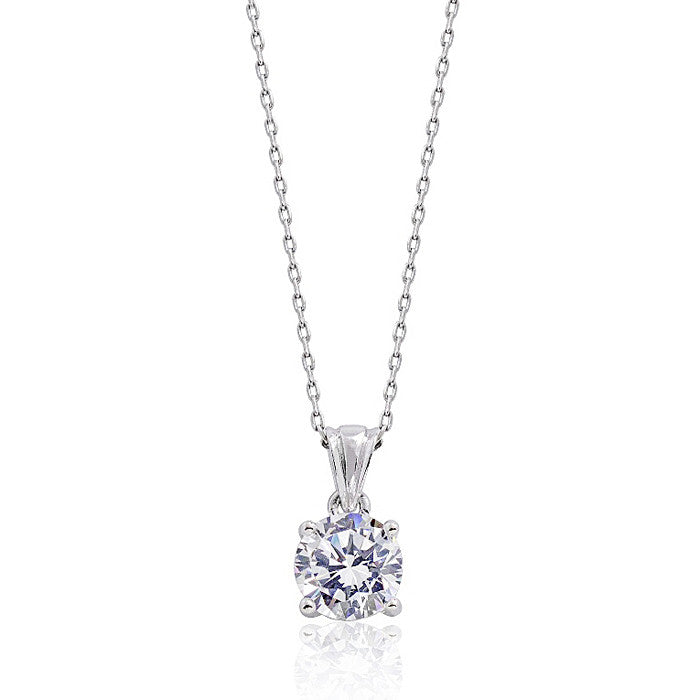 Sterling Silver Solitaire 3.35 Carat CZ Classic Pendant Necklace 16