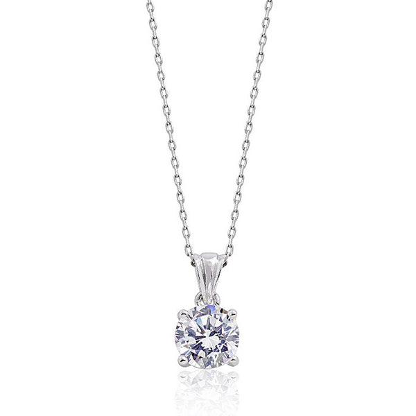 "Sterling Silver Solitaire 3.35 Carat CZ Classic Pendant Necklace 16""+ 2"" - Jewelry - Prjewel.com - 1"