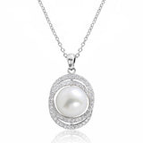 "Gorgeous 10-11 mm Pearl 0.8 Ct Cubic Zirconia 925 Sterling Silver Necklace 16""+ 2"" - Jewelry - Prjewel.com - 1"
