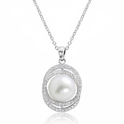 Gorgeous 10-11 mm Pearl 0.8 Ct Cubic Zirconia 925 Sterling Silver Necklace 16