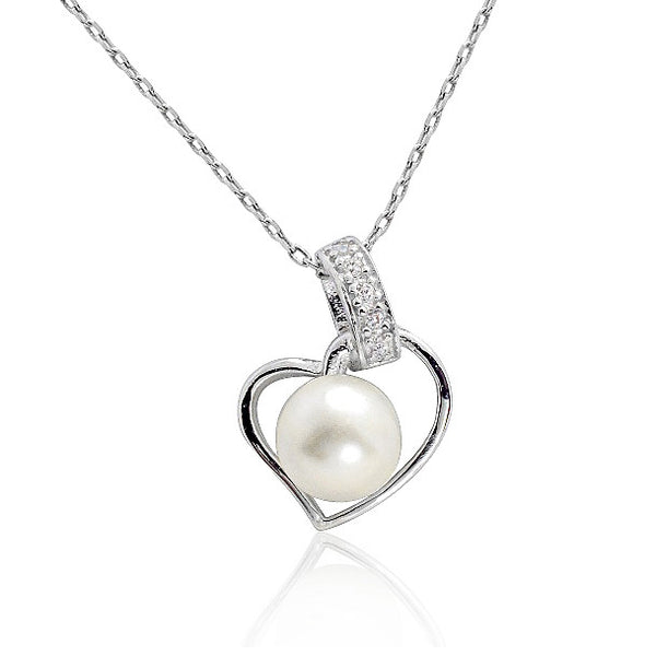 925 Sterling Silver Pearl CZ Beautiful Heart Necklace 16