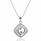 "Micro Pave Setting 925 Sterling Silver 0.67 Carat CZ Heart Pendant Necklace 16""+ 2"" - Jewelry - Prjewel.com - 1"