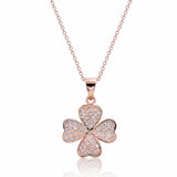 "Pretty 925 Sterling Silver Micro Pave CZ Lucky Leaf Necklace 16""+ 2"" Rose - Jewelry - Prjewel.com - 1"