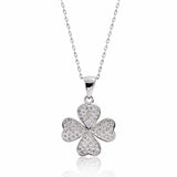 "Pretty 925 Sterling Silver Micro Pave CZ Lucky Leaf Necklace 16""+ 2"" - Jewelry - Prjewel.com - 1"