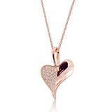 "Rose Gold Plated 925 Silver Micro Pave Setting CZ Heart Leaf Necklace 16""+ 2"" - Jewelry - Prjewel.com - 1"
