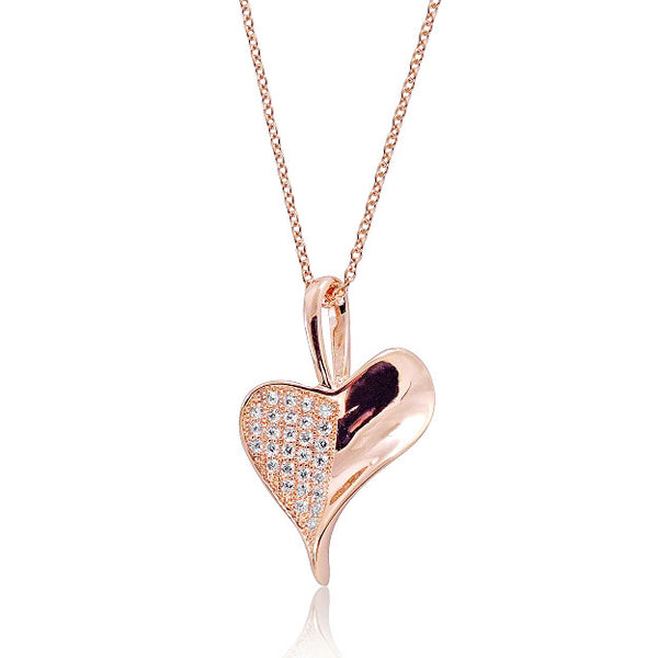 Rose Gold Plated 925 Silver Micro Pave Setting CZ Heart Leaf Necklace 16