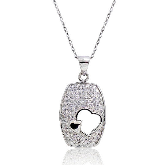 "925 Sterling Silver Micro Pave Setting 0.81 Carat CZ Heart Pendant Necklace 16""+ 2"" Extender - Jewelry - Prjewel.com - 1"