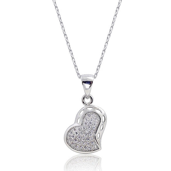 Gracious 925 Sterling Silver Micro Pave Setting CZ Heart Pendant - Jewelry - Prjewel.com - 1