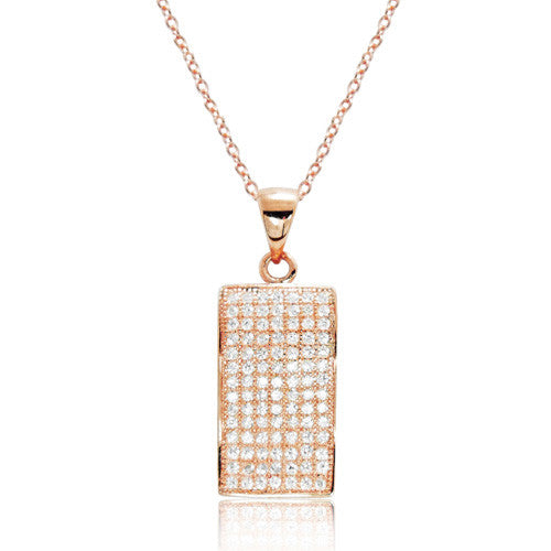 "Fancy 925 Sterling Silver Rose Gold Over Micro Pave CZ Necklace 16""+ 2"" - Jewelry - Prjewel.com"