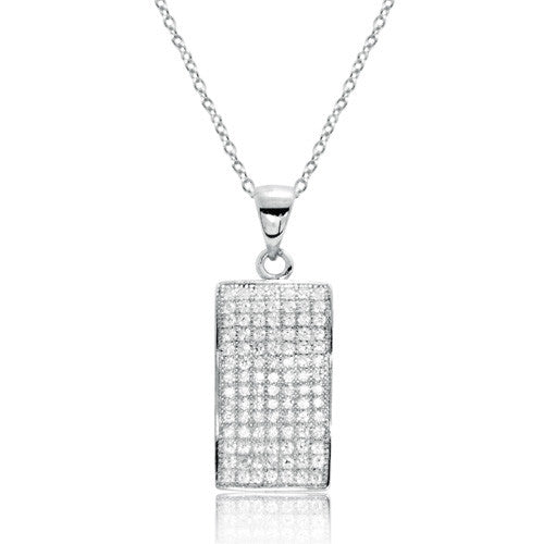 "Fancy 925 Sterling Silver Micro Pave Setting CZ Pendant Necklace 16""+ 2"" - Jewelry - Prjewel.com"