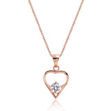 "Cute Rose Gold Plated 925 Sterling Silver CZ Pendant Necklace 16""+ 2"" - Jewelry - Prjewel.com - 1"