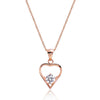 Cute Rose Gold Plated 925 Sterling Silver CZ Pendant Necklace 16