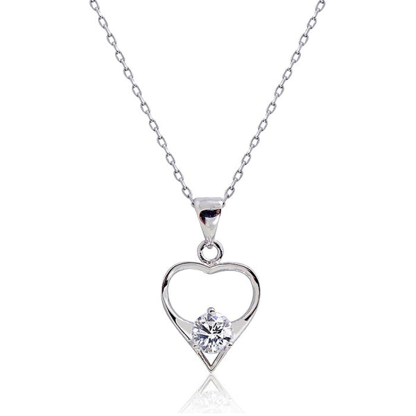 "Cute 925 Sterling Silver 0.8 Carat Cubic Zirconia Pendant Necklace 16""+ 2"" - Jewelry - Prjewel.com - 1"