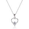 Cute 925 Sterling Silver 0.8 Carat Cubic Zirconia Pendant Necklace 16