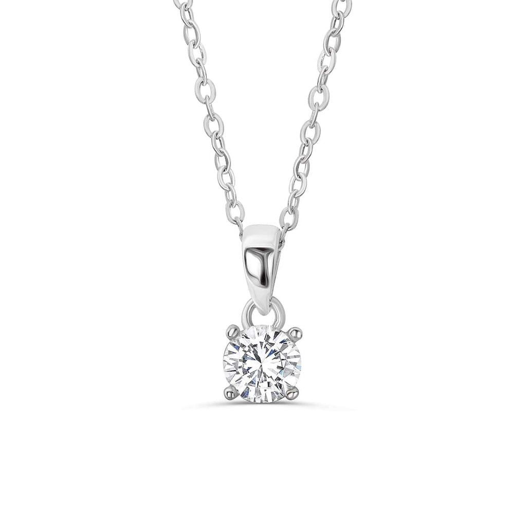 925 Sterling Silver Solitaire 1.4 Carat Cubic Zirconia Necklace 16
