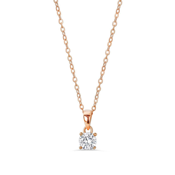 "Rose Gold Plated 925 Sterling Silver Solitaire CZ Necklace 16""+ 2"" Extender"