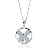 "925 Sterling Silver Micro Pave Setting CZ Butterfly Pendant Necklace 16""+ 2"" - Jewelry - Prjewel.com - 1"