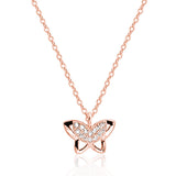 Cute 925 Sterling Silver Rose Gold Over CZ Butterfly Pendant Necklace - Jewelry - Prjewel.com - 1