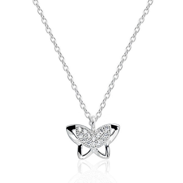 Cute 925 Sterling Silver Cubic Zirconia Butterfly Pendant Necklace - Jewelry - Prjewel.com - 1