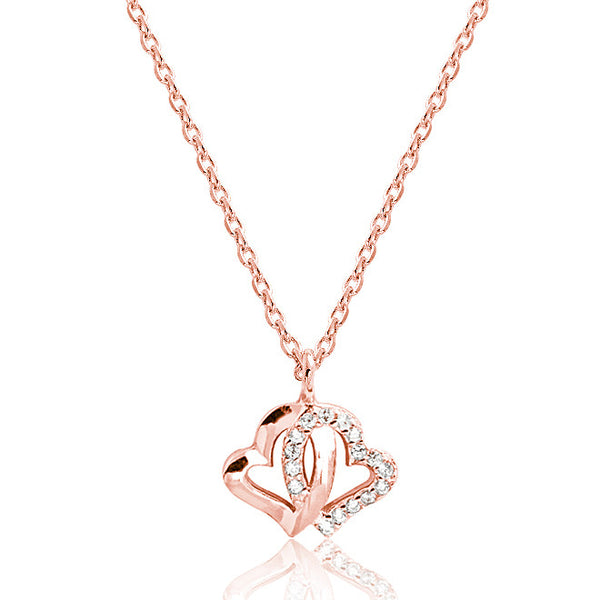 Rose Gold Plated 925 Silver CZ Double Heart Necklace - Jewelry - Prjewel.com - 1