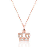 Rose Gold Plated 925 Sterling Silver CZ Crown Pendant Necklace - Jewelry - Prjewel.com - 1