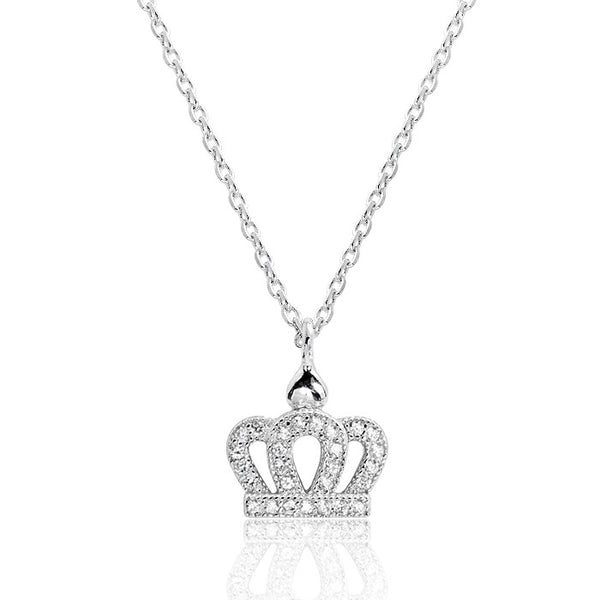 Sterling Silver Cubic Zirconia Crown Pendant Necklace