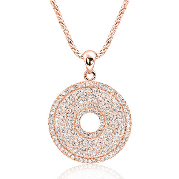 Rose Gold over 925 Sterling Silver 203 CZ Perfect Circle Necklace - Jewelry - Prjewel.com - 1
