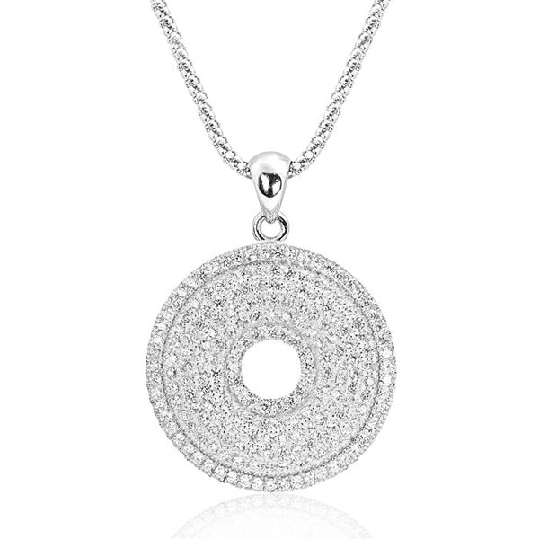 Sterling Silver 203 Cubic Zirconia Perfect Circle Necklace - Jewelry - Prjewel.com - 1