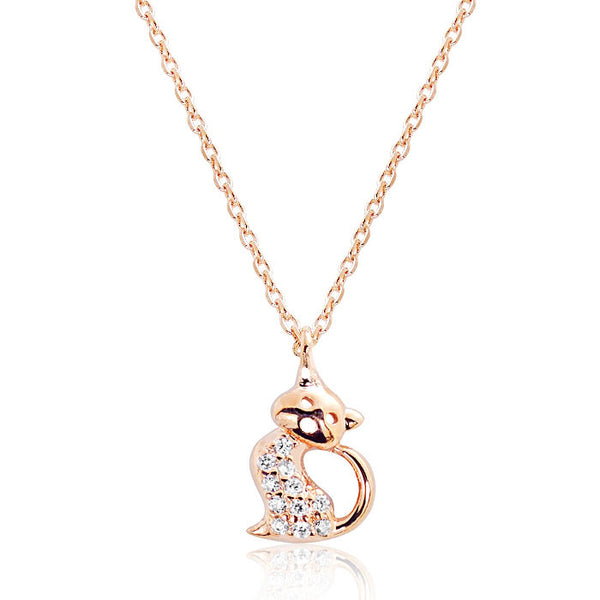 Cute Kitty Rose Gold Plated 925 Sterling Silver CZ Pendant Necklace