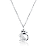 Cute Kitty 925 Sterling Silver Cubic Zirconia Pendant Necklace - Jewelry - Prjewel.com - 1