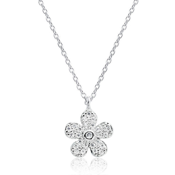 Sparkling Flower 925 Sterling Silver Cubic Zirconia Pendant Necklace 16