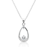 "Beautiful 925 Sterling Silver Cubic Zirconia Pendant Necklace 16""+ 2"" Extender - Jewelry - Prjewel.com - 1"