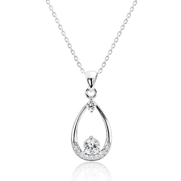 Beautiful 925 Sterling Silver Cubic Zirconia Pendant Necklace 16