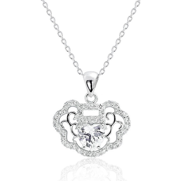 925 Sterling Silver Heart Cubic Zirconia Vintage Necklace 16