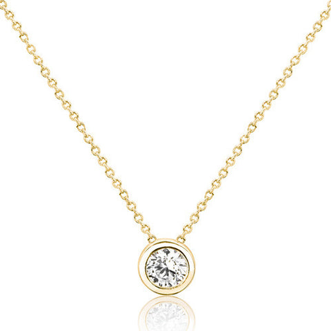 18K Gold Plated 925 Sterling Silver Pure Circle CZ Necklace - Jewelry - Prjewel.com - 1
