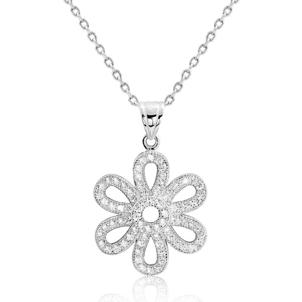 Cubic Zirconia Graceful Flower Silver Necklace - Jewelry - Prjewel.com - 1