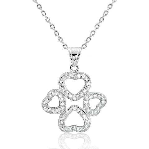 Sterling Silver Cubic Zirconia Wonderful Four Heart Pendant Necklace - Jewelry - Prjewel.com - 1