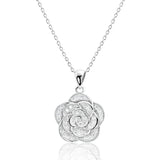 Beautiful Flower Sterling Silver Cubic Zirconia Necklace - Jewelry - Prjewel.com - 1