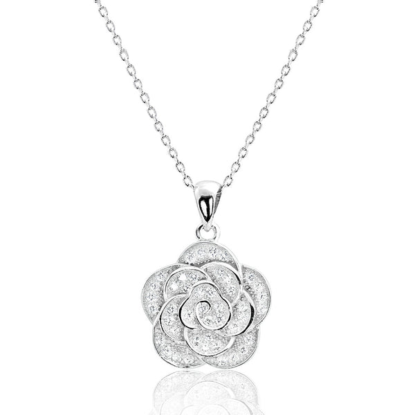 Beautiful Flower Sterling Silver Cubic Zirconia Necklace
