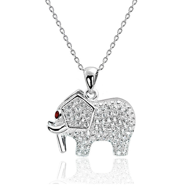 Red Crystal 925 Sterling Silver CZ Elephant Necklace