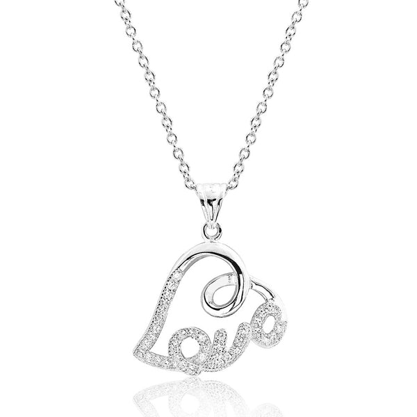 925 Sterling Silver Heart and Love Cubic Zirconia Pendant Necklace - Jewelry - Prjewel.com - 1
