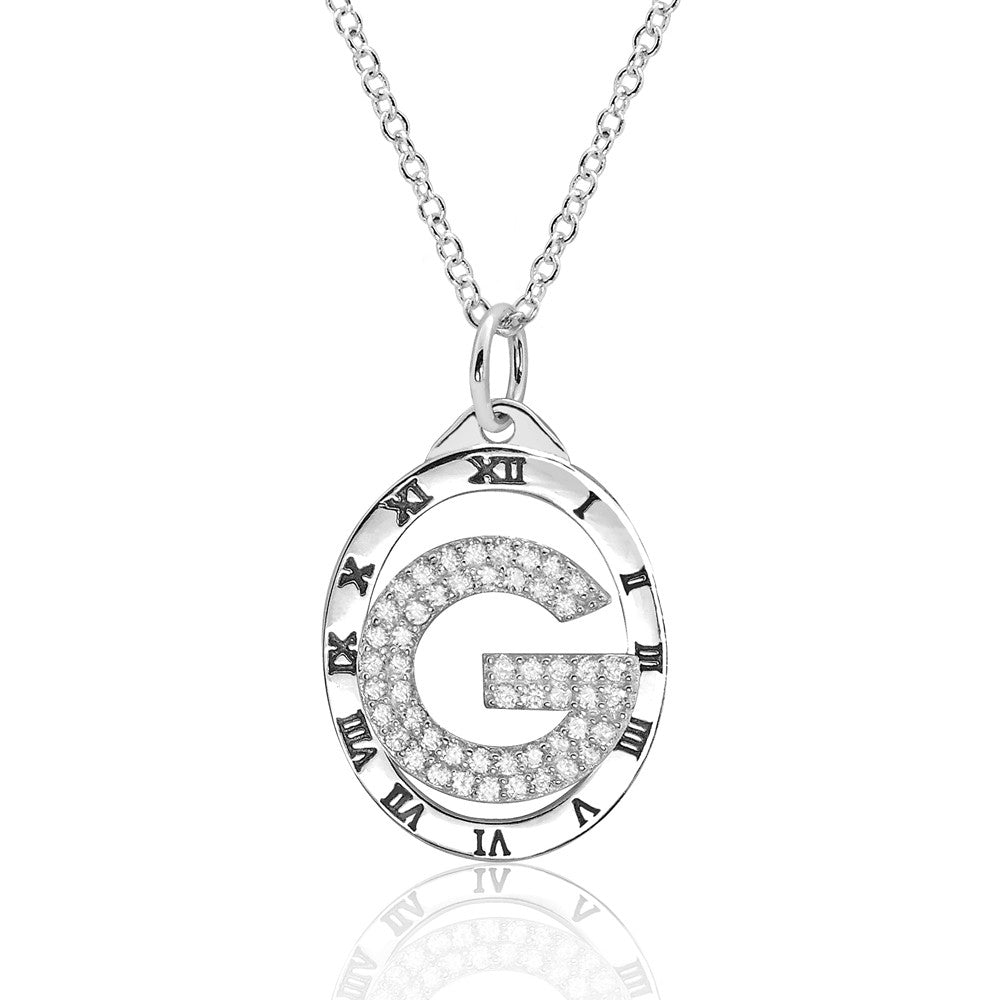 Smart Large G Clock Cubic Zirconia 925 Sterling Silver Necklace - Jewelry - Prjewel.com - 1
