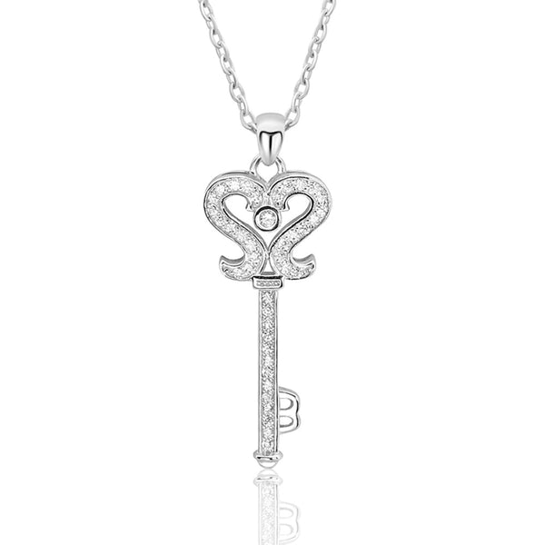 Cz Key Rose Gold Plated 925 Sterling Silver Necklace - Jewelry - Prjewel.com - 1