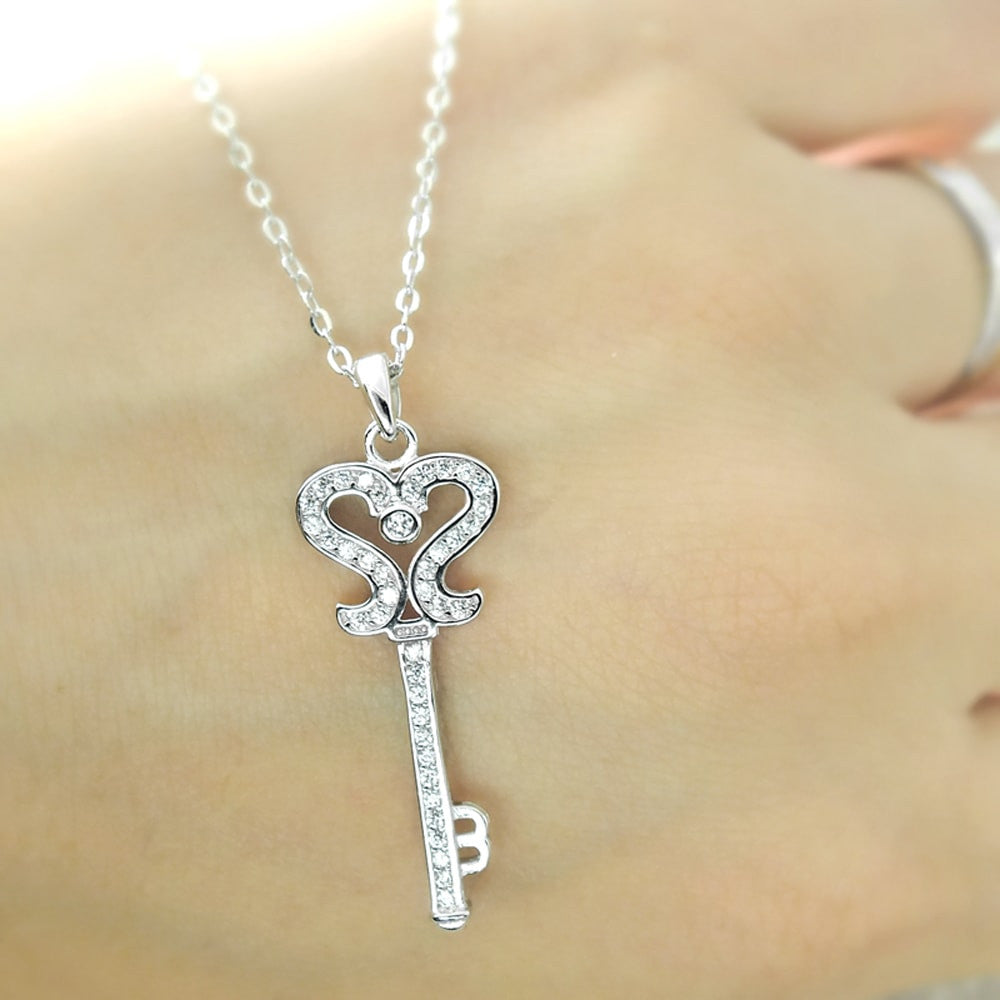 Sterling Silver Cubic Zirconia Silver Key Necklace 16