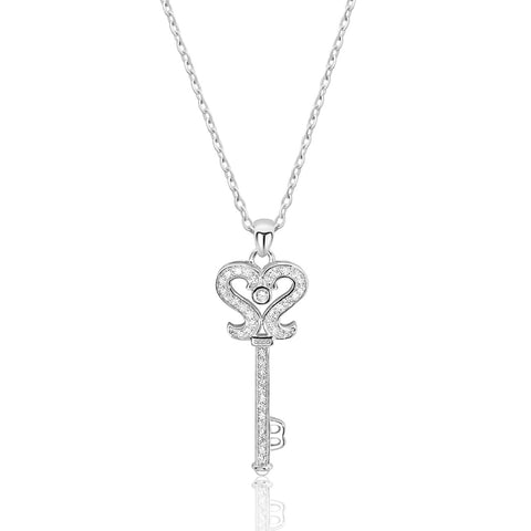 "Sterling Silver Cubic Zirconia Silver Key Necklace 16""+2"""