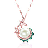 Rose Gold over 925 Sterling Silver Pearl and CZ Pendant Necklace - Jewelry - Prjewel.com - 1