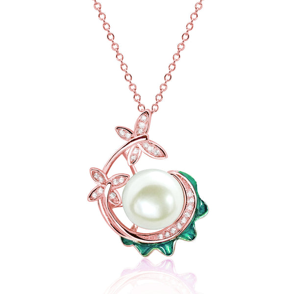 Rose Gold over 925 Sterling Silver Pearl and CZ Pendant Necklace