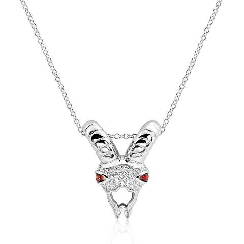 Fancy Crystal Sheep Cubic Zirconia Silver Pendant Necklace